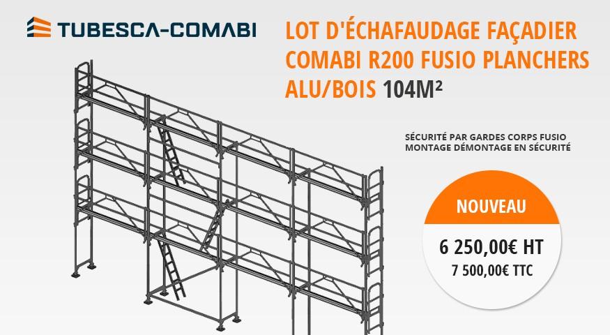 Lot d'échafaudage façadier comabi r200 fusio planchers alu/bois 104m2